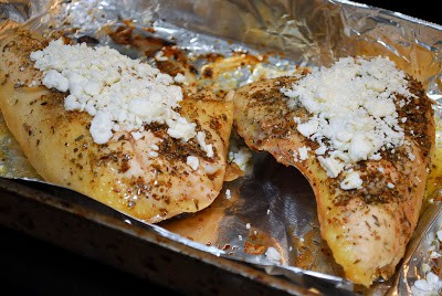 Baked Feta Chicken on foil