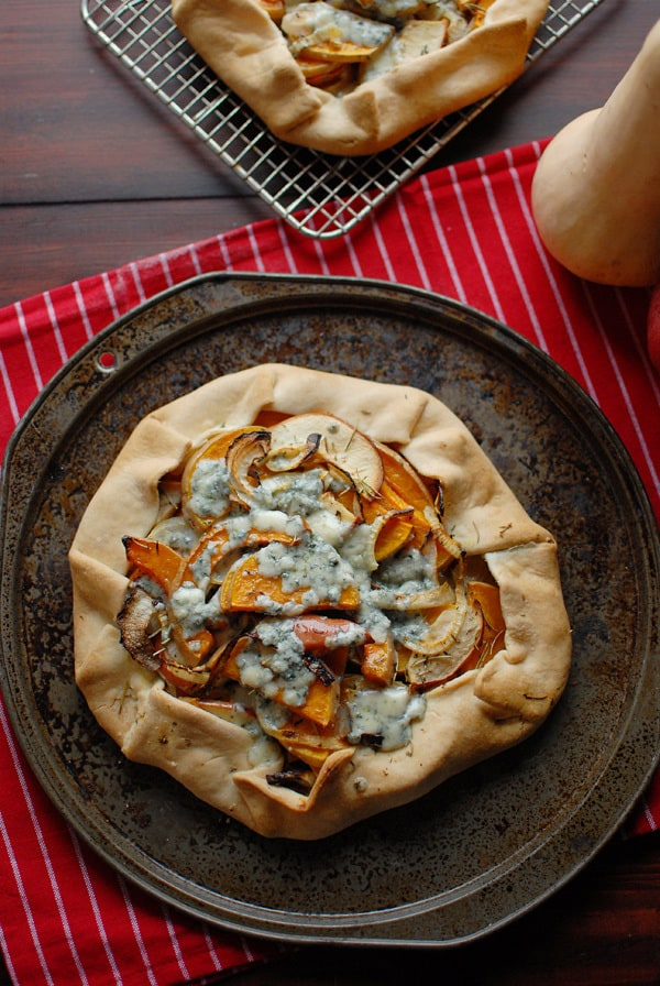 Squash,Apple,Onion And Blue Cheese Galette