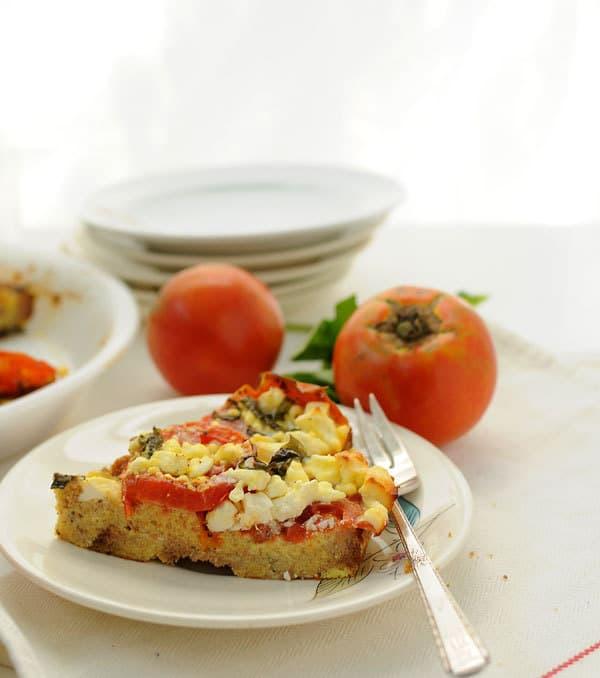 Feta Tomato Pie Slice