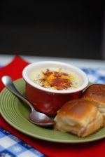 Baked Potato Soup And Hot Ham And Swiss Sandwiches