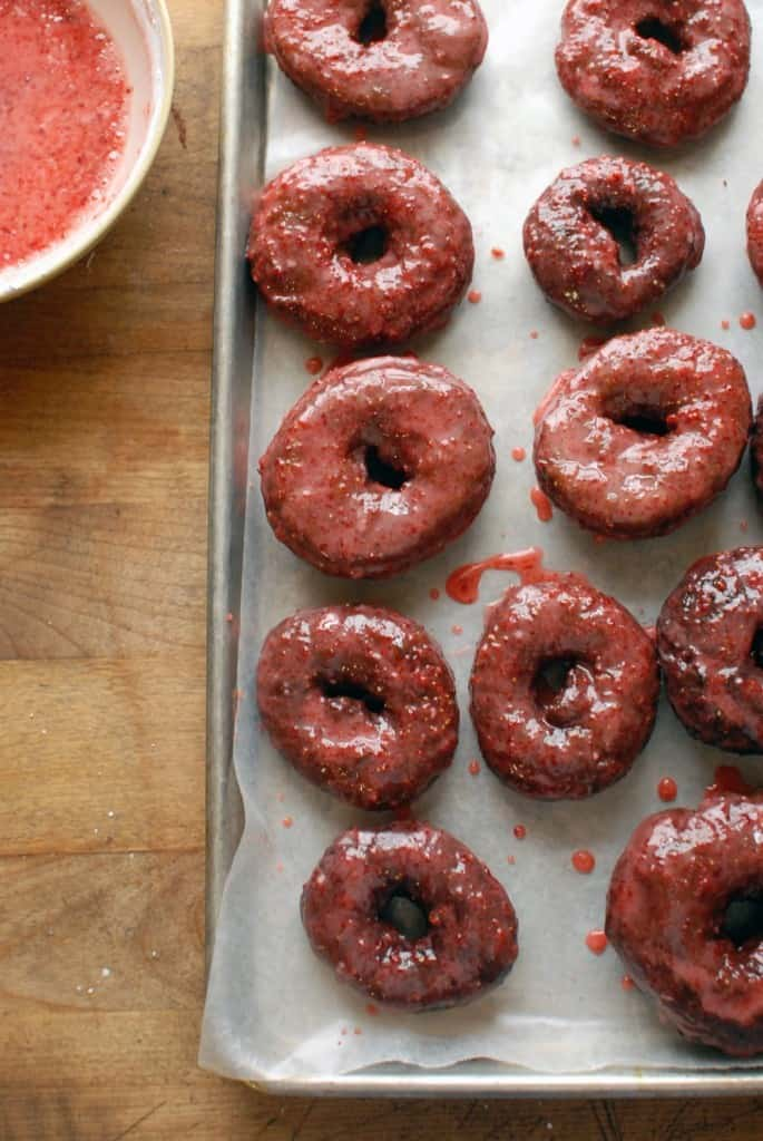 Chocolate Donuts with Strawberry Glaze