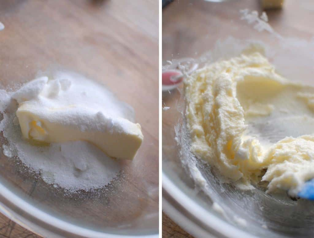 Cream butter and sugar for Southern Woodford Pudding