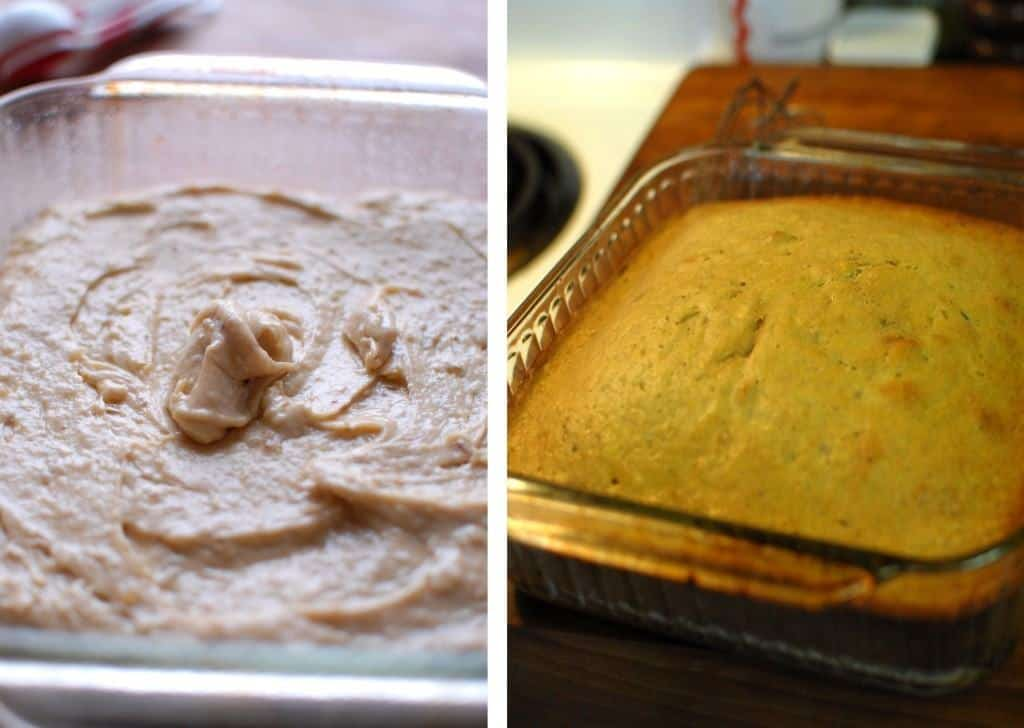 Pour into baking dish and bake for 35-40 minutes