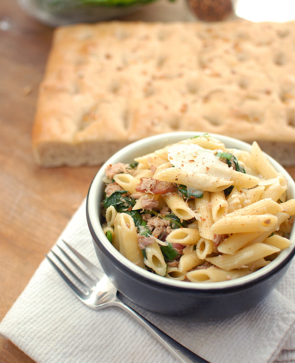 Tuna Tuesday: Tuna, Spinach And Bacon Penne