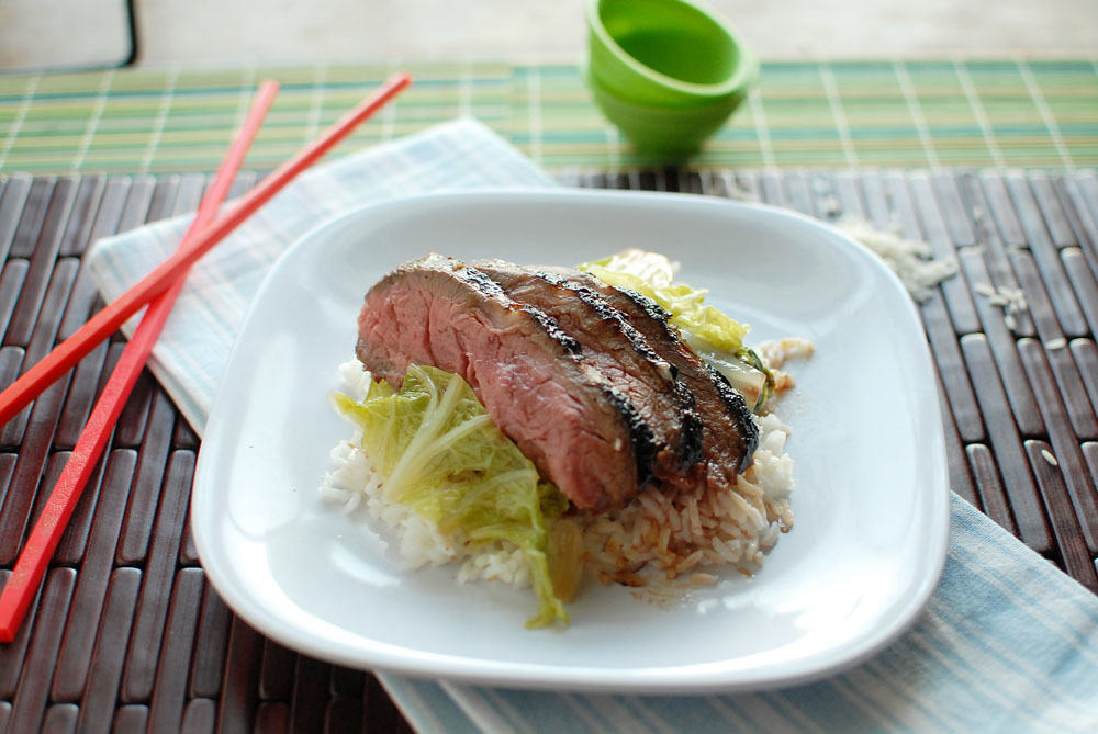 Asian Marinated Flank Steak and Bok Choy
