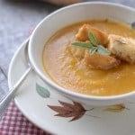 Butternut Squash Soup with Parmesan Sage Croutons