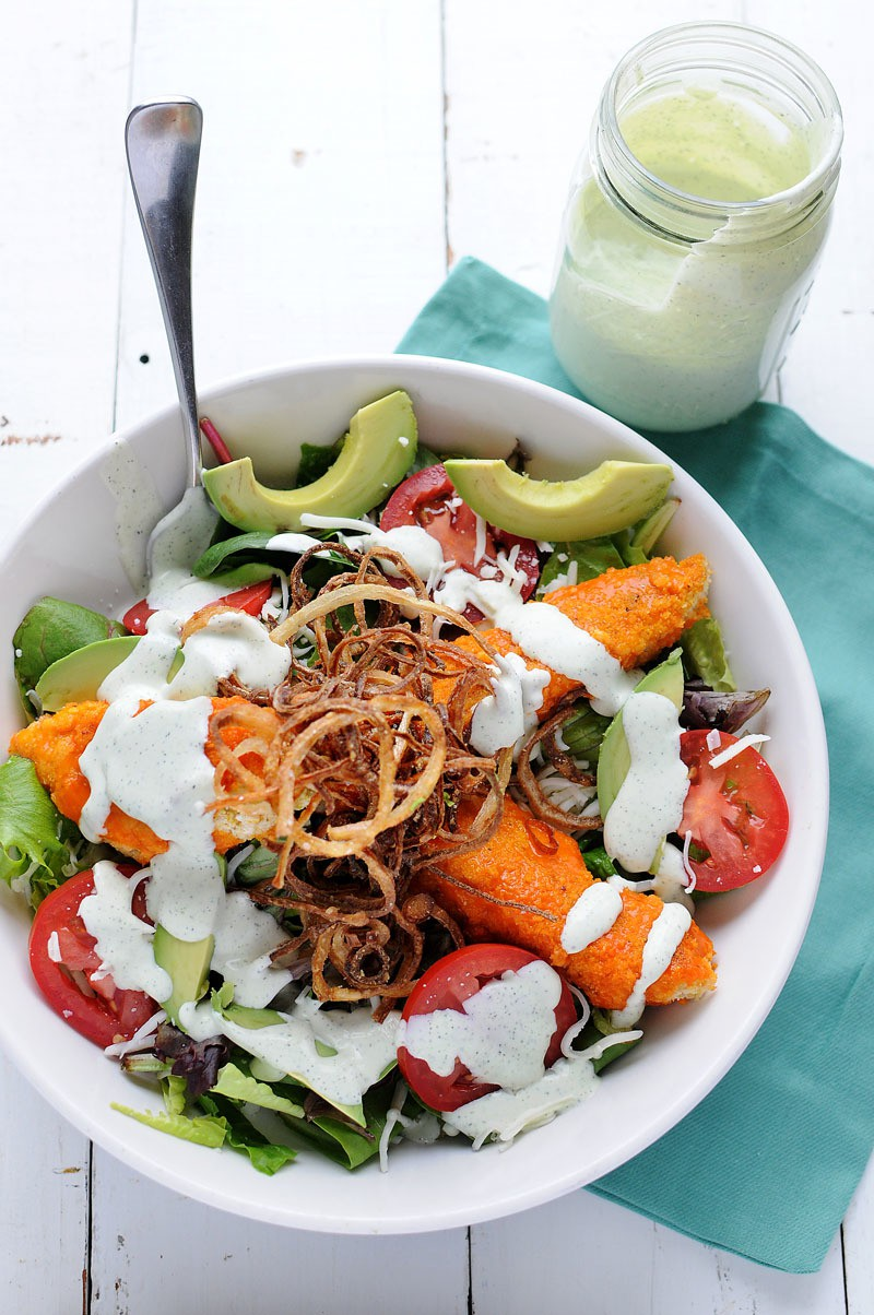 Buffalo Salad With Shoestring Fried Onions
