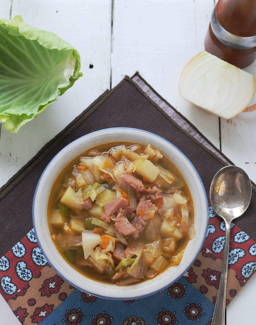 Ham And Cabbage Soup In A Bowl