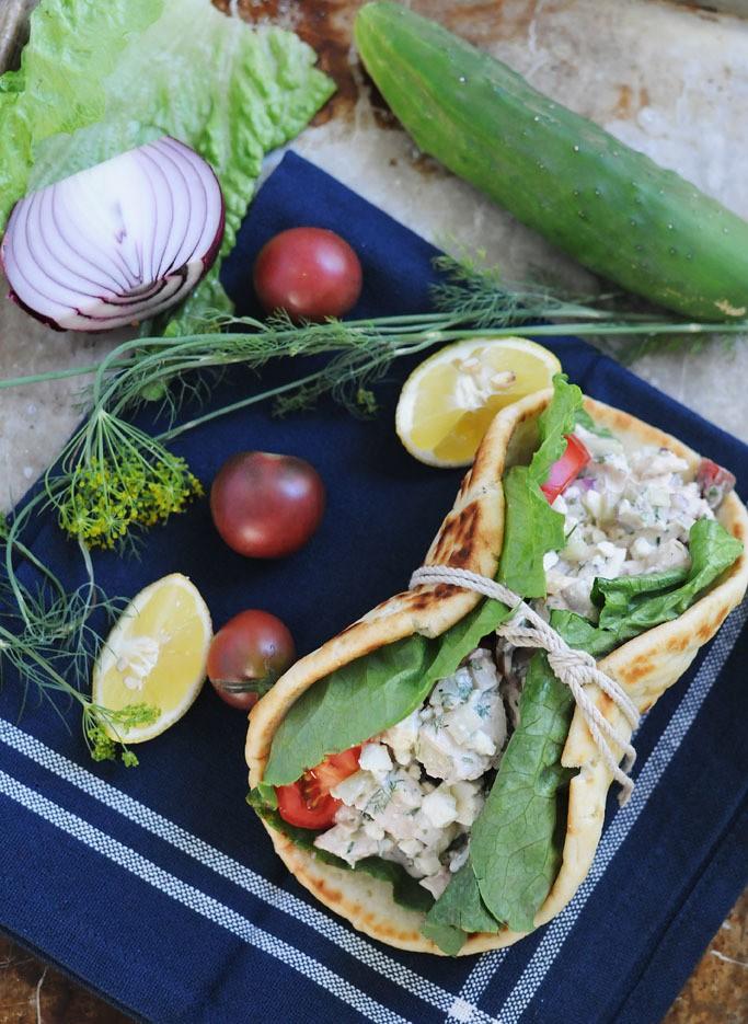 Healthy Greek Chicken Salad Wrap