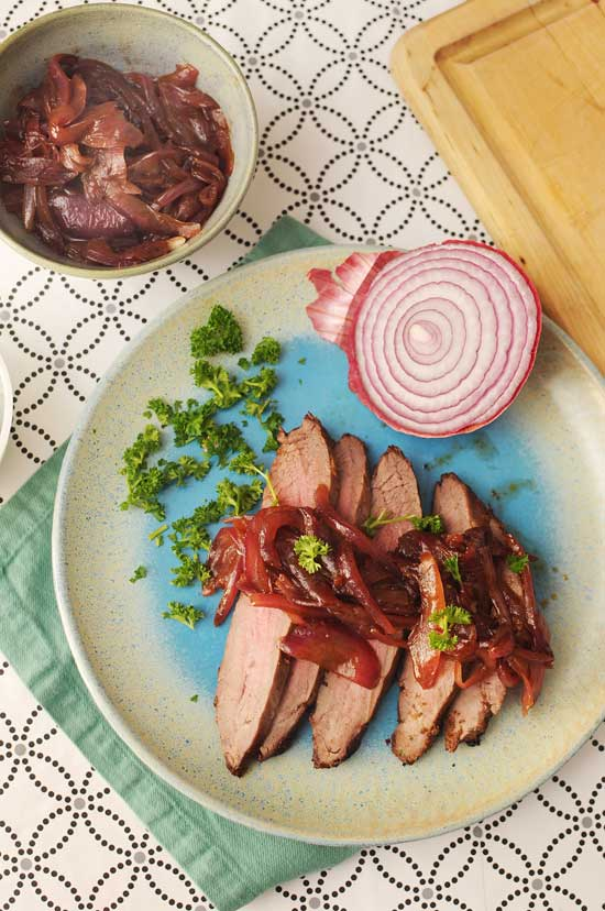 Flank Steak with Balsamic Red Onion Marmalade