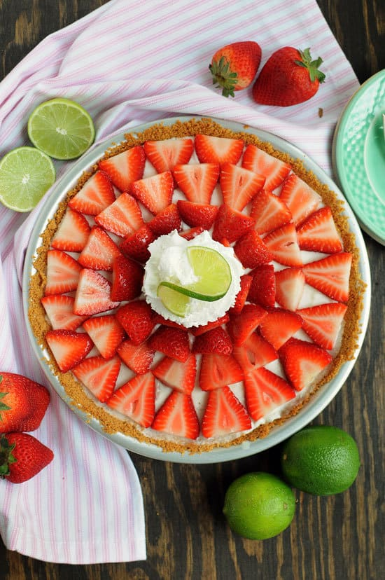 No Bake Buttermilk Strawberry Key Lime Pie