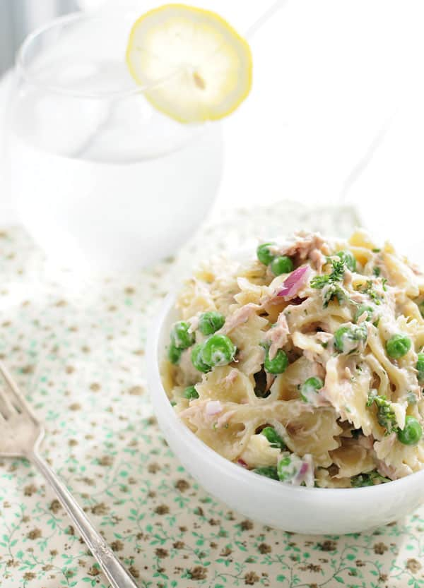 Creamy Spring Tuna and Sweet Pea Pasta Salad