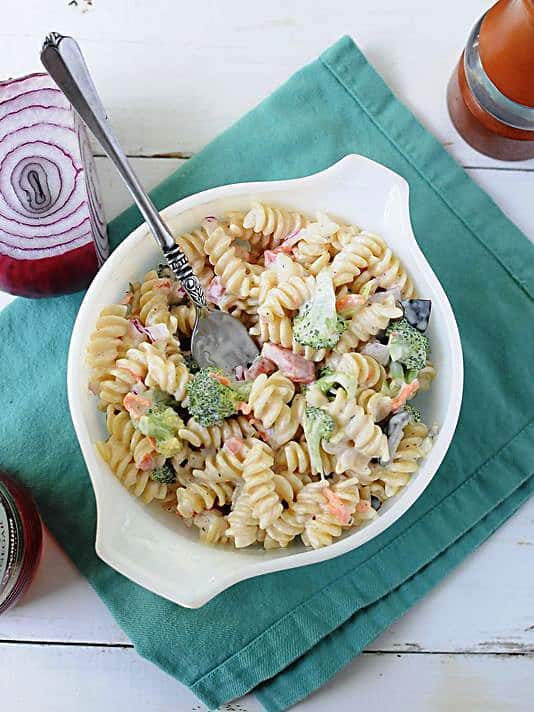 Creamy Rotini Veggie Pasta Salad ‹� Two Lucky Spoons