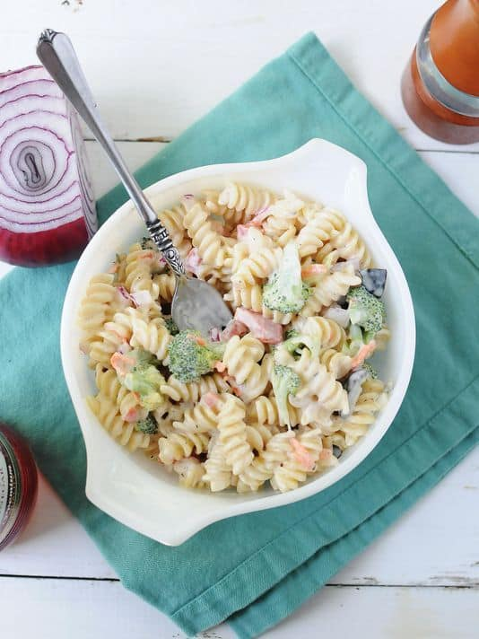 Creamy Rotini Veggie Pasta Salad
