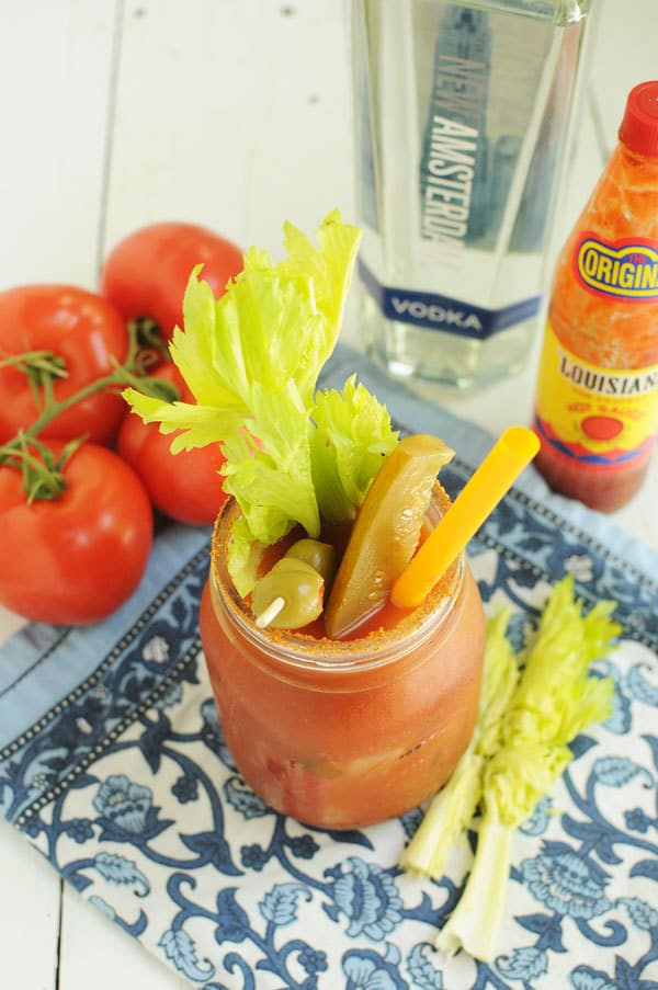 The Best Bloody Mary Mix with garnish