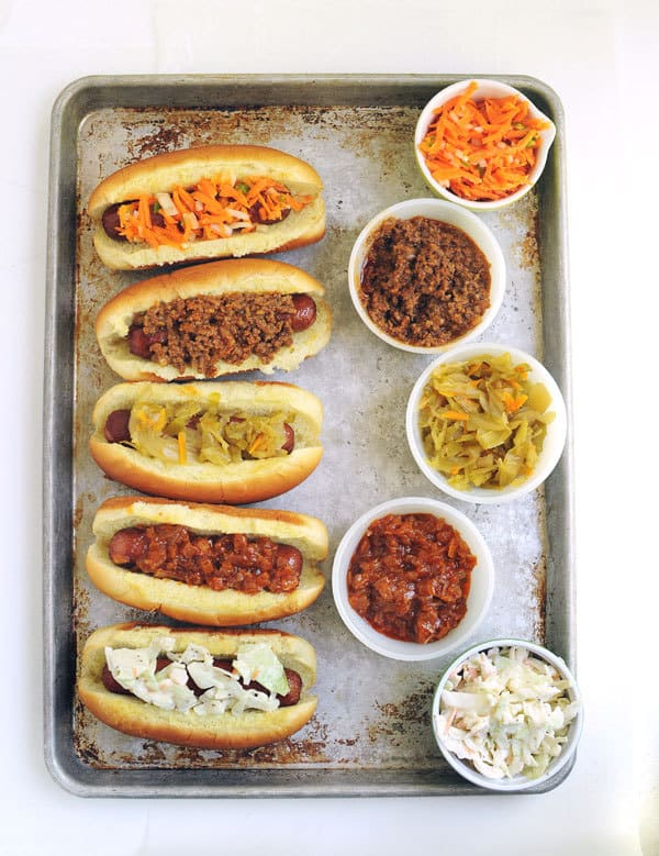 Hot Dog Toppings 5 Ways