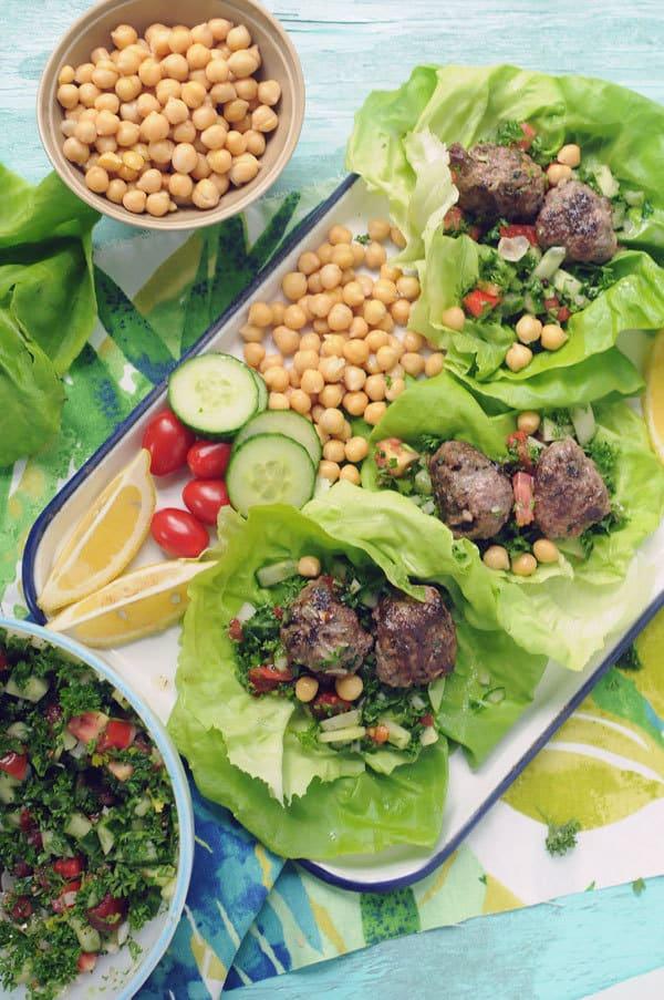 Moroccan Meatball Lettuce Wraps