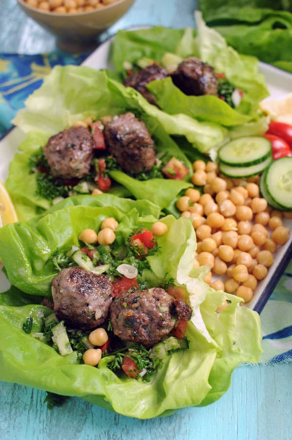 Moroccan Meatball Lettuce Wraps with Tabbouleh