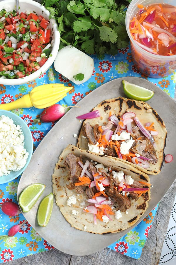 Crock Pot Carnitas With Quick Pickled Veggies