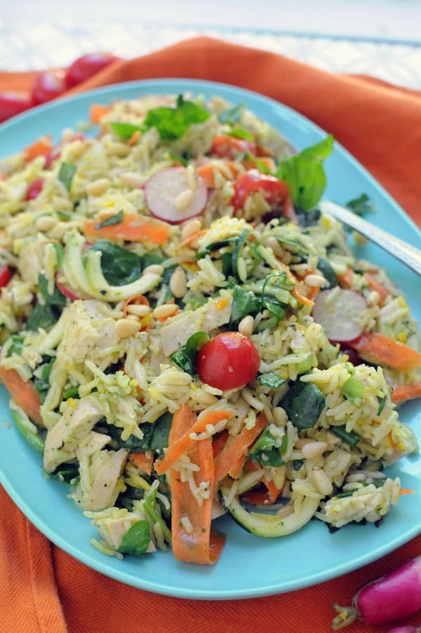 Summer Chicken And Rice Salad With Fresh Veggies