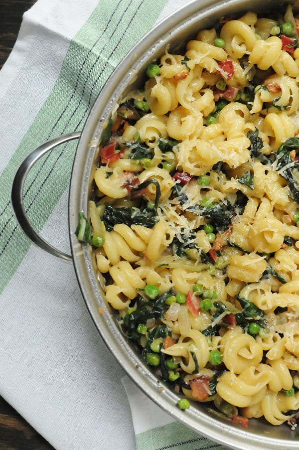 Spring Parmesan Pasta Skllet with Peas and Swiss Chard