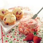 Strawberry Basil Muffins with Whipped Strawberry Butter