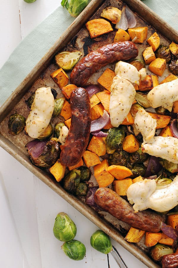 Autumn Chicken and Sausage Sheet Pan Dinner