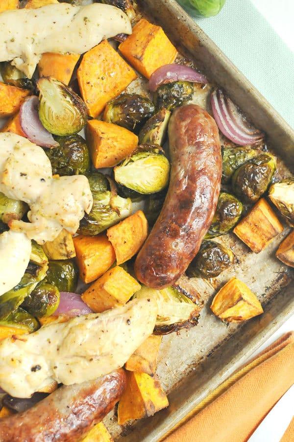 Autumn Chicken and Sausage Sheet Pan Dinner