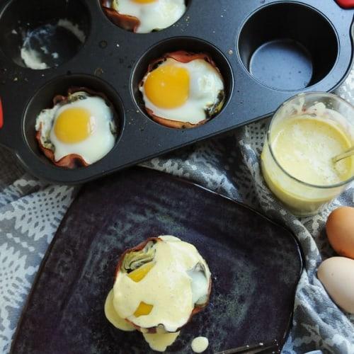 Muffin Tin Eggs Sardou with Quick Hollandaise