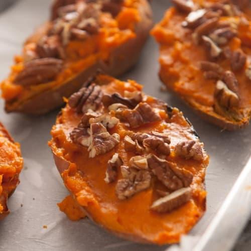 Maple Pecan Twice Baked Sweet Potatoes