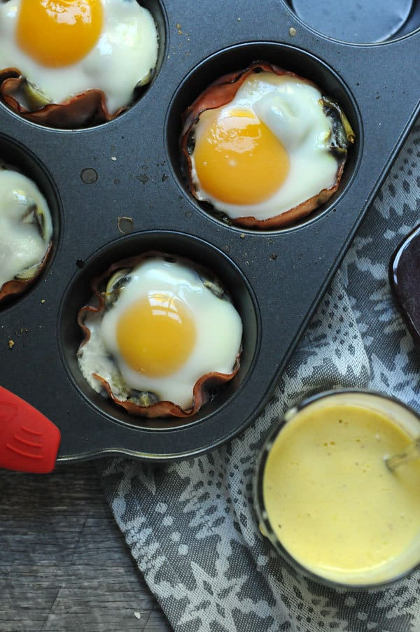 Muffin Tin Eggs Sardou with Quick Hollandaise
