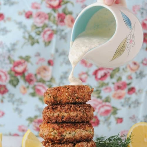 Low Carb Keto Salmon Croquettes with Creamy Remoulade Sauce