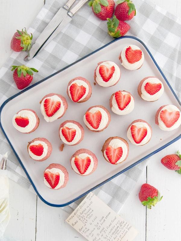 Mini Strawberry Jam Cupcakes