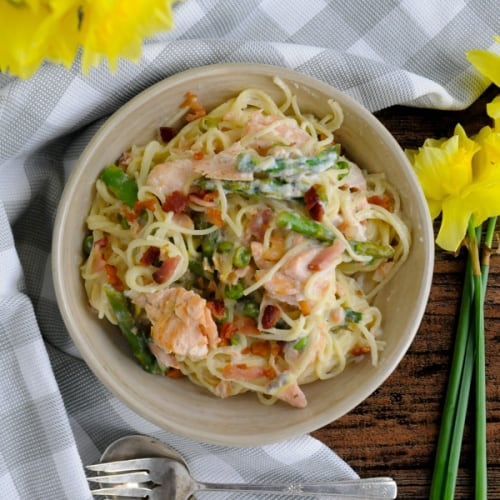 Easy Salmon Pasta Primavera with a Keto Option