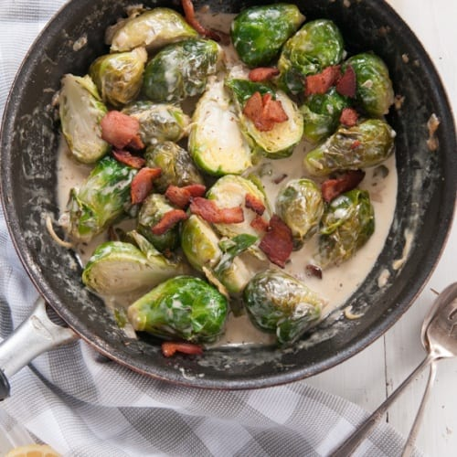 Brussels Sprouts in a Bacon Lemon Cream Sauce