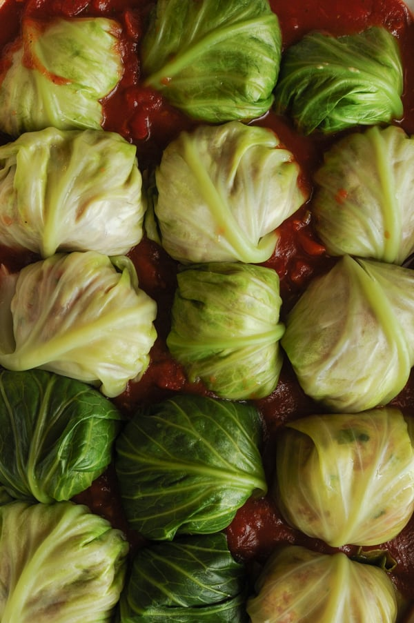 Italian Stuffed #Cabbage Rolls with a handy #tip on how to make it so much easier to roll a cabbage roll.