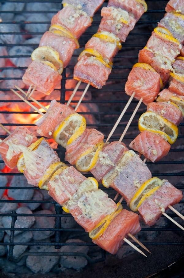 Grilled Lemon Garlic Butter Salmon Kebabs