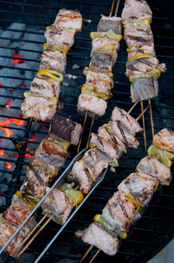 Grilled Garlic Butter Salmon Kebabs