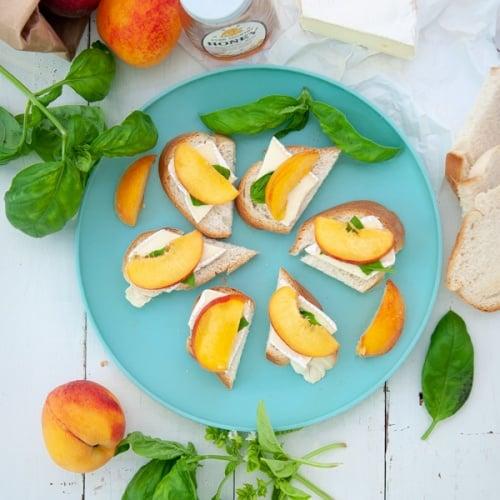 Basil Peach Brie Crostini
