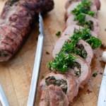 Grilled Spinach & Mushroom Stuffed Pork Tenderloin