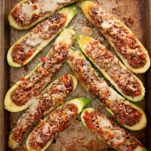 Low Carb Bratwurst & Provolone Stuffed Zucchini Boats