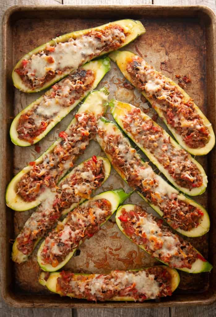 Low Carb Bratwurst and Provolone Stuffed Zucchini Boats