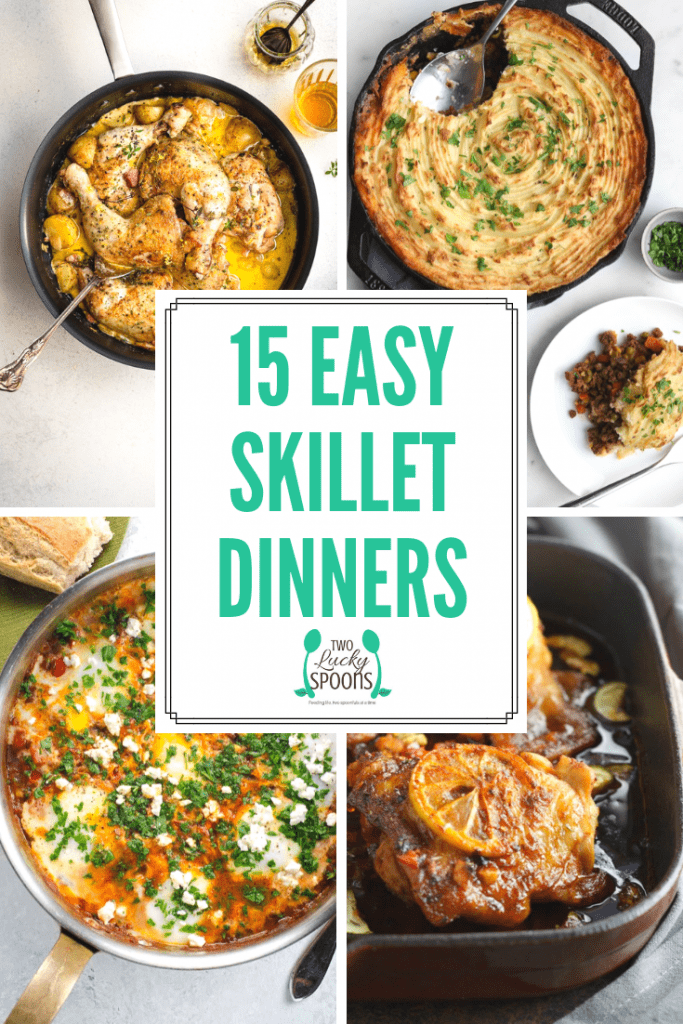 15 Easy Skillet Dinners pinterest graphic