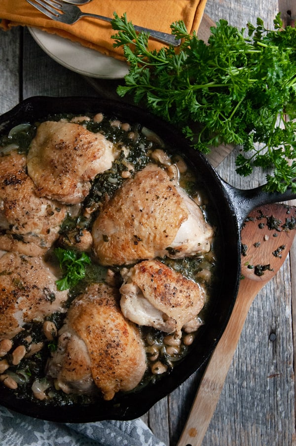 Braised Chicken Thighs with Spinach and White Beans