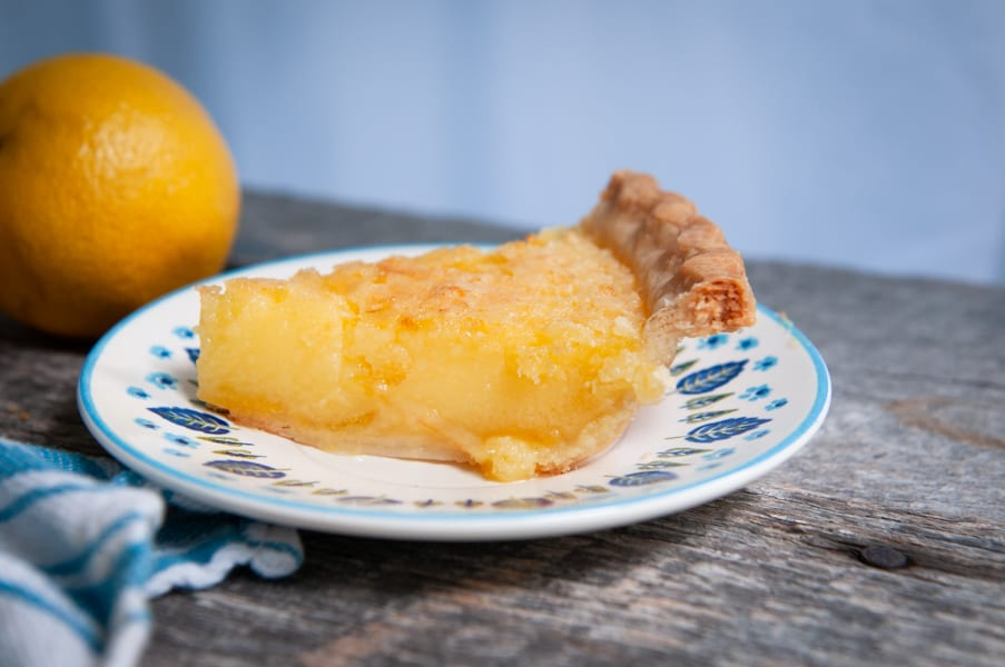 Old Fashioned Lemon Chess Pie slice