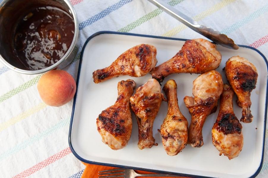 chicken legs on a white platter