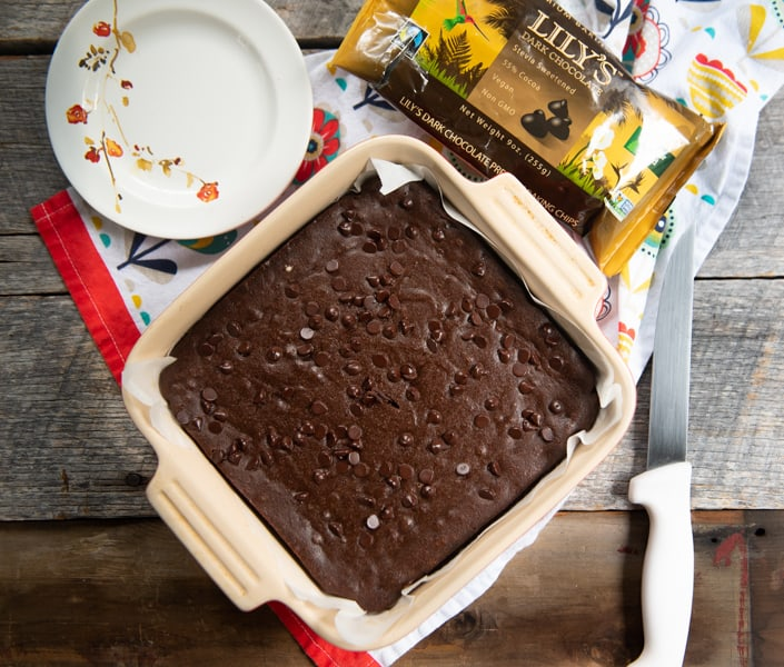 The Best Chocolate Chip Keto Brownies in a square pan