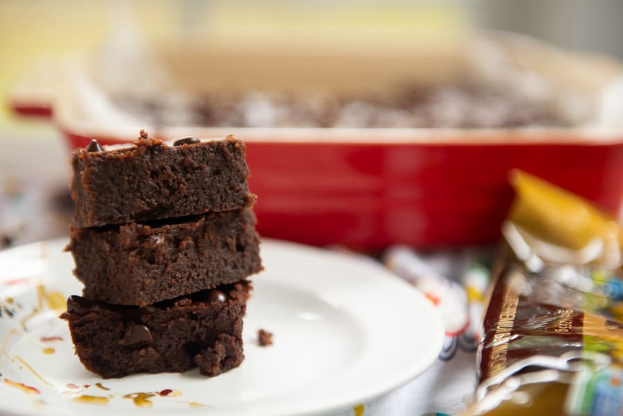 The Best Chocolate Chip Keto Brownies cut and stacked
