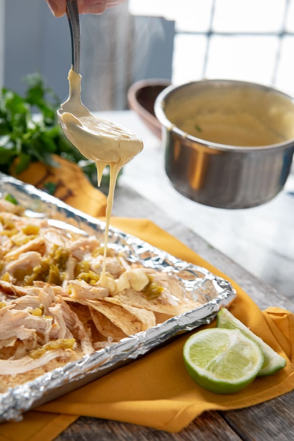 Green Chile Chicken Nachos cheese sauce