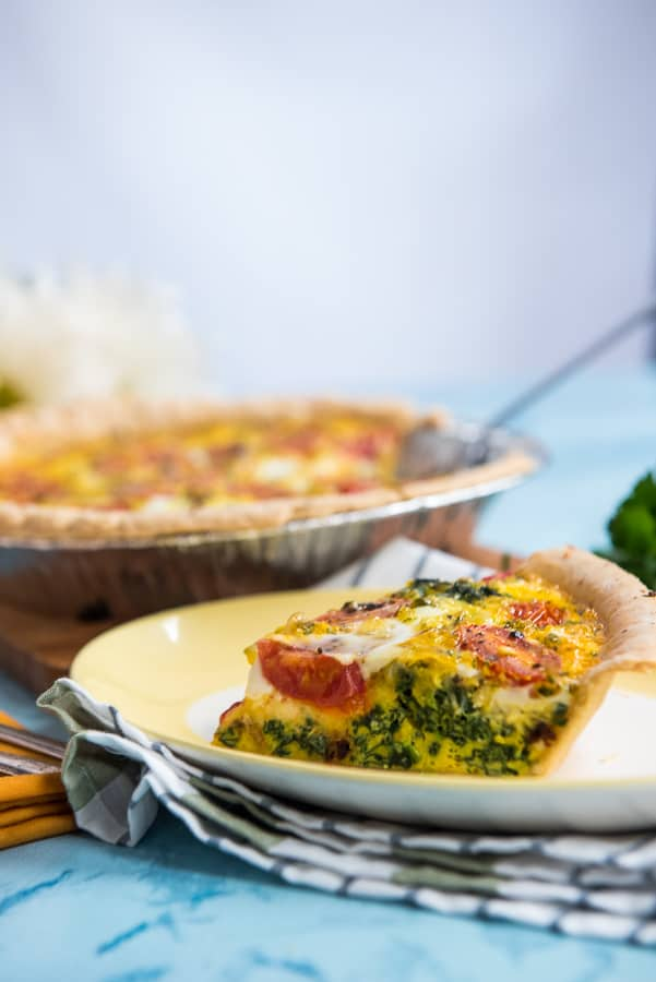 Bacon Spinach Quiche with Tomatoes
